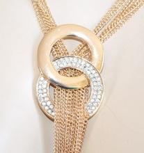COLLANA LUNGA donna ORO girocollo dorato collier fili strass elegante da cerimonia E45