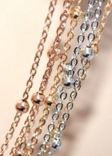 COLLANA LUNGA donna pietre ROSA CIPRIA collier multi fili argento oro rosato dorato GP15