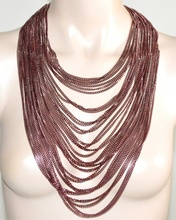 COLLANA LUNGA donna rosa catena multi fili pendenti elegante collier necklace G44