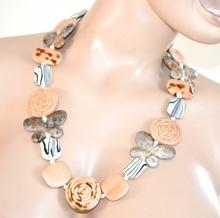 COLLANA LUNGA PIETRE BEIGE SAFARI donna  girocollo collier farfalle gemme dure colar E105