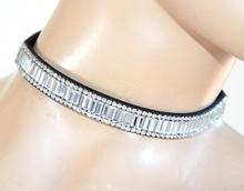 COLLANA NERA collarino strass donna girocollo ragazza cristalli brillantini F85