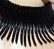 COLLANA NERA  donna collarino rigido girocollo collier collare załoga szyi elegante G15