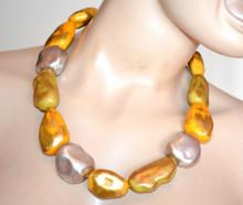 COLLANA ORO donna argento dorato ambra pietre ciondoli girocollo collier collar S12