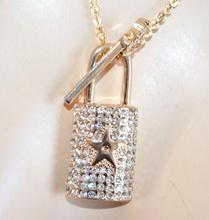 COLLANA oro LUNGA donna CIONDOLO chiave lucchetto strass idea regalo san Valentino E60