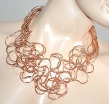 COLLANA ORO ROSA donna girocollo multi fili collier elegante cerimonia colar G10