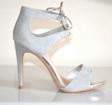 DECOLTE' SANDALI donna ARGENTO scarpe tacco alto laccetti lurex cerimonia B10