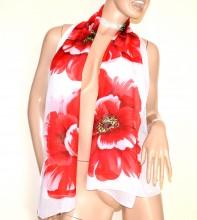 FOULARD BIANCO ROSSO 40% seta donna sciarpetta abito floreale velata stola G34