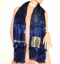 FOULARD BLU ORO ARGENTO donna stola coprispalle scialle sciarpa dorata blue scarf G97