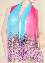 Foulard donna rettangolare 160x50 leopardato fucsia e azzurro