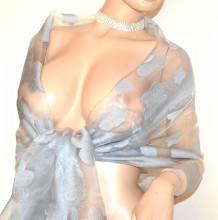 FOULARD STOLA GRIGIO ARGENTO 30% seta donna velata ricamata coprispalle velo G40