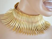 GIROCOLLO donna COLLANA COLLARINO ORO dorata Metallo Sexy elegante rigida necklace collar 65