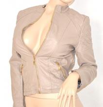 free shipping 0a0bc e40ec GIUBBINO BEIGE FANGO giacca donna eco pelle sexy giacchino zip oro black  jacket N20