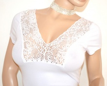 MAGLIA BIANCA donna sottogiacca maglietta mezza manica corta pizzo strass sexy scollatura E140
