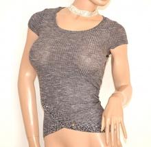 MAGLIA donna GRIGIO elegante manica corta T-SHIRT maglietta sottogiacca strass E89