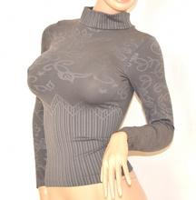MAGLIA donna maglietta collo lupetto GRIGIO tinta unita maglione sottogiacca maniche lunghe microfibra elastica 90