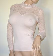 MAGLIA ROSA donna pizzo ricamata maglietta sottogiacca manica lunga lupetto A43