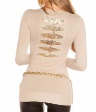 MAGLIETTA BEIGE donna maglia paillettes oro manica lunga sottogiacca AZ16