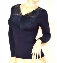 MAGLIETTA BLU donna maglia manica lunga maglione sottogiacca pizzo ricamo F110