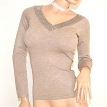 MAGLIETTA donna BEIGE TORTORA maglia sottogiacca manica lunga scollo V maglioncino F45X