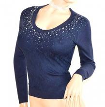MAGLIETTA donna BLU manica lunga sottogiacca maglia ricamata pizzo strass F130