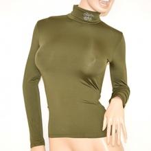 MAGLIETTA donna maglia VERDE microfibra elasticizzata manica lunga collo alto strass sottogiacca felpata H15