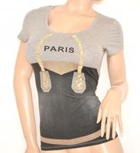 MAGLIETTA GRIGIO NERA maglia donna sottogiacca cotone STRASS t-shirt sexy ELEGANTE manica corta 35X