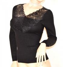 MAGLIETTA NERA donna maglia manica lunga maglione sottogiacca pizzo ricamo F110
