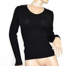 MAGLIETTA NERA donna scollo V maglia maniche lunghe maglioncino sottogiacca costine B34