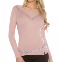 MAGLIETTA ROSA donna maglia velata manica lunga frangia maglione sottogiacca AZ6