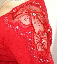MAGLIETTA ROSSA donna sottogiacca manica lunga maglia ricamata maglione strass A19