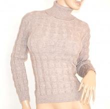 MAGLIONE donna BEIGE TAUPE maglia collo alto lana maglioncino pullover maniche lunghe Z5