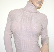 MAGLIONE ROSA collo alto donna maglietta manica lunga dolcevita pullover G1