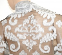 MAXI STOLA donna ARGENTO GRIGIO seta velato NERO elegante foulard ricamato da cerimonia coprispalle abito da sera Z4