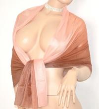 MAXI STOLA donna ROSA CIPRIA BRONZO foulard ELEGANTE COPRISPALLE velato da cerimonia 30X