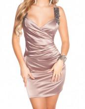 MINI ABITO BEIGE donna vestito corto tubino bretelle cristalli elegante dress A32