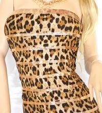 MINI ABITO donna vestito fascia aderente tubino leopardato con paillettes vestido dress kleid elegante V15