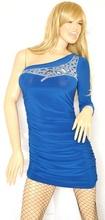 MINI ABITO donna vestito maniche lunghe monospalla tubino elegante festa cerimonia V18