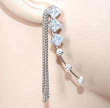 MONO ORECCHINO donna argento strass fili pendenti cristalli elegante chic CC169