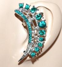 MONO ORECCHINO donna ragazza argento verde strass cristalli brillantini idea regalo F223
