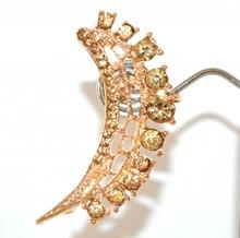 MONO ORECCHINO donna ragazza ORO AMBRA strass cristalli dorato brillantini E223