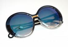 OCCHIALI da sole donna BLU viola oro lenti tonde sunglasses темные очки BB32