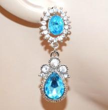 ORECCHINI argento azzurri celesti donna strass cristalli pendenti eleganti boucles CC159