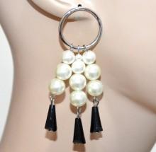ORECCHINI argento cerchi fili perle bianche donna pendenti cristalli neri ragazza CC88