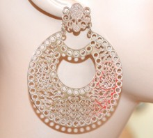 ORECCHINI argento donna cerchi pendenti filigrana lucidi traforati metallizzati CC125