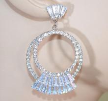 ORECCHINI ARGENTO donna cerchi strass cristalli brillanti elegante sposa earrings D9