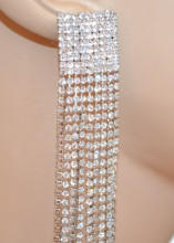 ORECCHINI ARGENTO donna fili lunghi pendenti strass eleganti cerimonia party N5