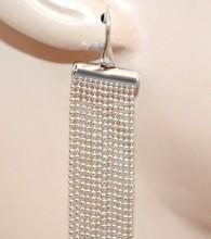 ORECCHINI ARGENTO donna multi fili pendenti lunghi eleganti cerimonia earrings BB84