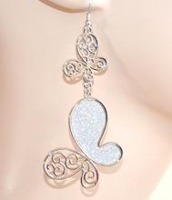 ORECCHINI ARGENTO donna pendenti ciondoli farfalle brillantini eleganti idea regalo E35