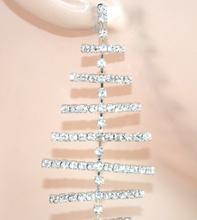 ORECCHINI ARGENTO donna STRASS cristalli pendenti da cerimonia sposa elegante E55