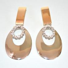 Orecchini argento e oro ovali pendenti da cerimonia eleganti earrings 323